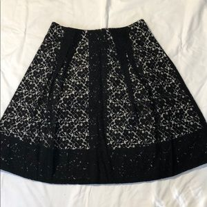 Talbots Black and White Lace A Line Skirt 10